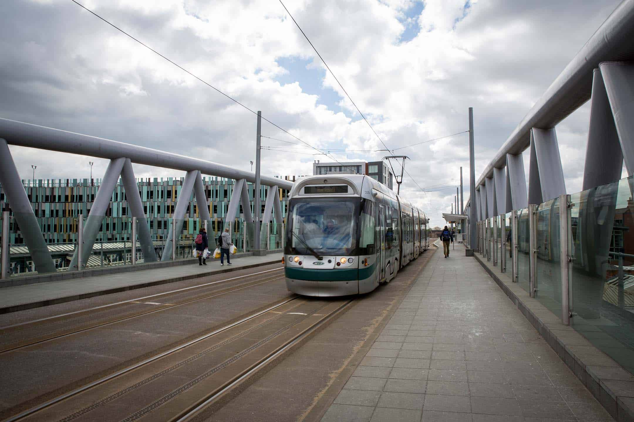 A Tram in a city centre
