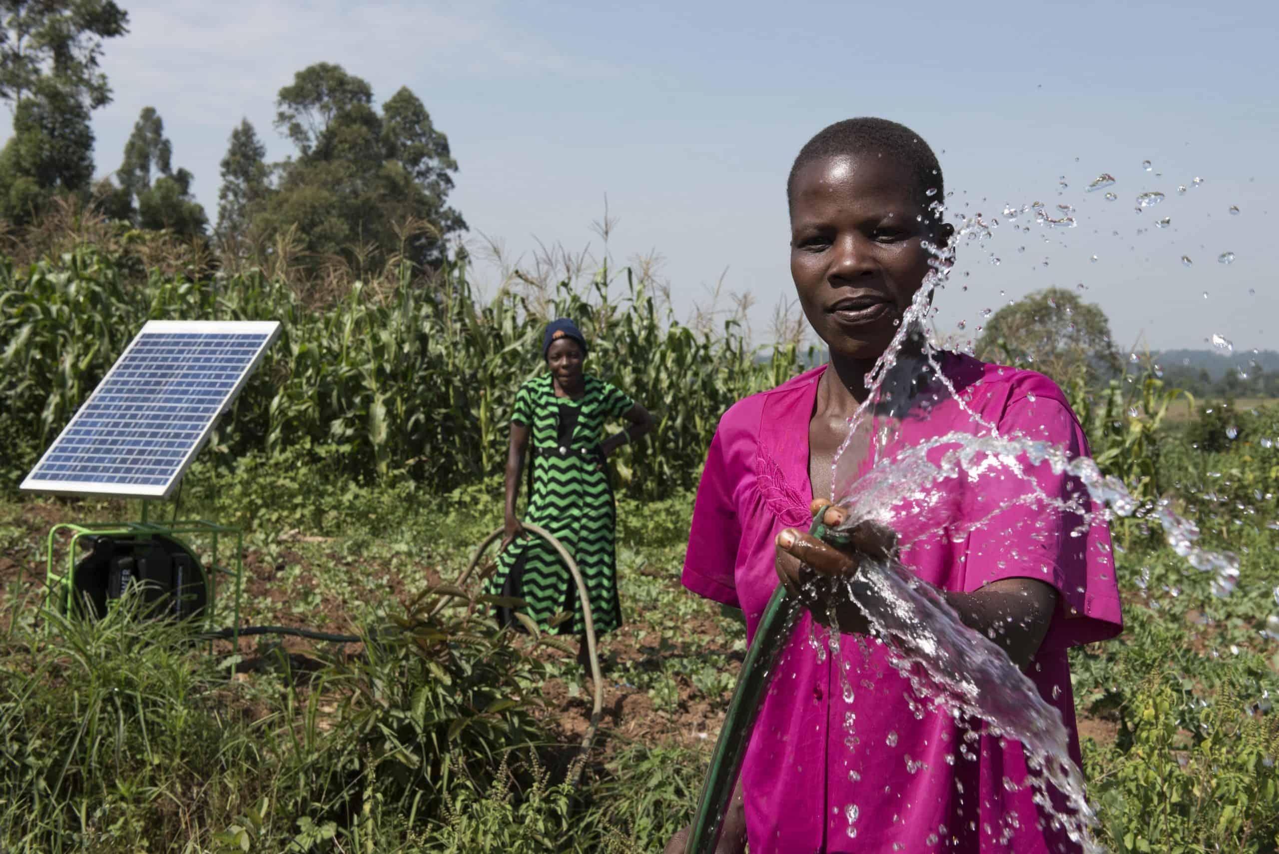 A woman sprays a hose in a field