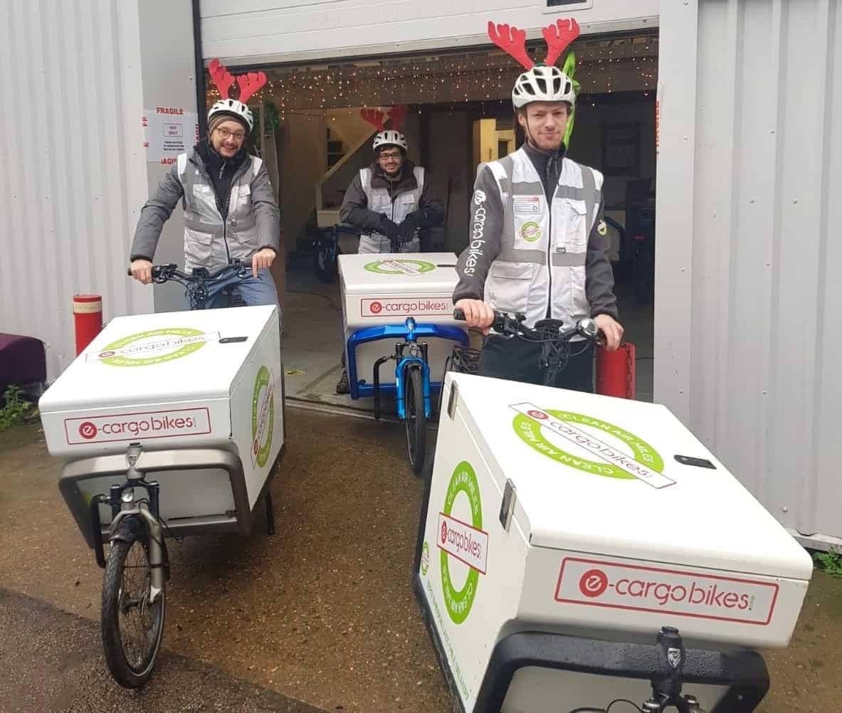 three cargo bikes