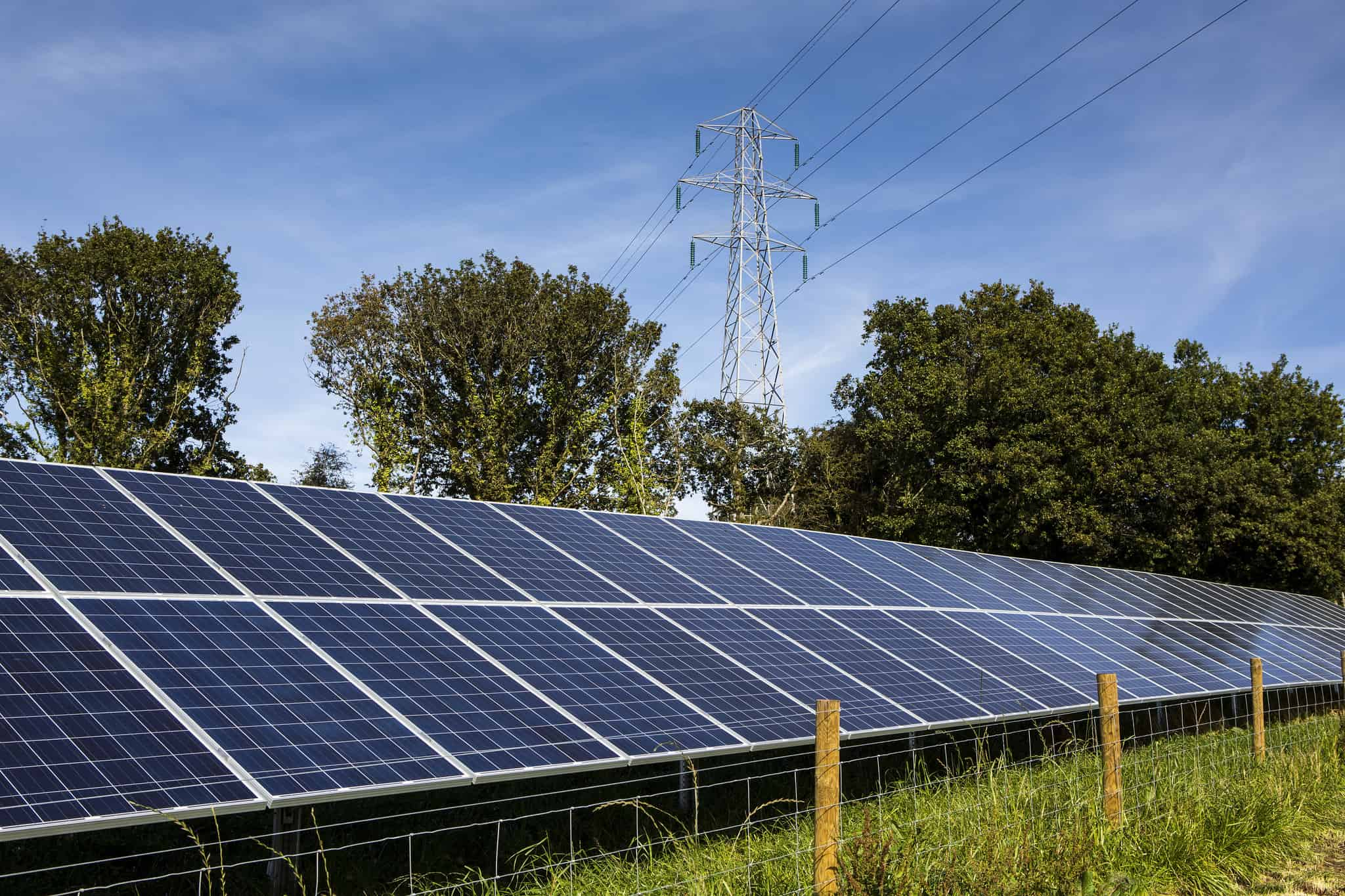 Solar panels and an electricity pylon